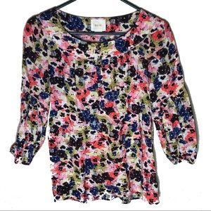 MAEVE ANTHRO pansyfield floral popover blouse 2 XS